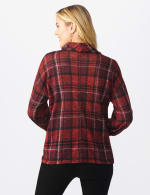 Red Plaid Cowl Neck Top - Misses - Red - Back