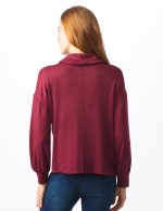 Sweater Knit Cowl Neck Top - Burgundy - Back