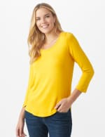 Rayon Spandex Scoop Neck Tee - Amber - Front