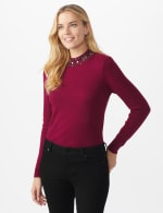 Roz & Ali Jeweled Mock Neck Pullover Sweater - Plum Wine - Front