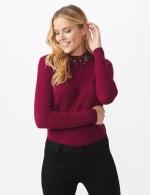 Roz & Ali Jeweled Mock Neck Pullover Sweater - 6