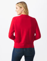 Roz & Ali Cascading Jewels Pullover Sweater - Red - Back