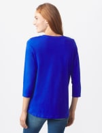DB Sunday V Neck Stud Knit Top - Royal Blue - Back