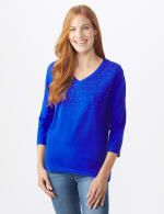 DB Sunday V Neck Stud Knit Top - Royal Blue - Front