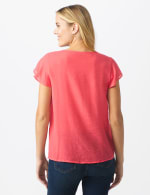 Crochet Trim Textured Square Neck Woven Top - CORAL - Back