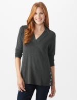 French Terry Button Tunic Knit Top - 5