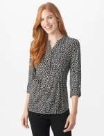 Roz & Ali Mixed Dot Pintuck Knit Popover - Misses - Black/White - Front