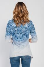 Border Print Cowl Neck Sharkbite Knit Top - Misses - Blue - Back