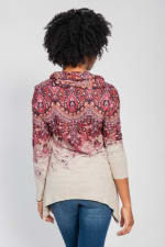 Border Print Cowl Neck Sharkbite Knit Top - Orange - Back