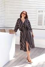 Kaftan V-Neckline Striped Dress - 4