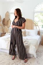 Topaz Stripe Jumpsuit - Plus - Black Stripe - Back