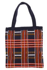 Plaid Knit Pattern Tote Bag - 1