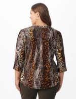 Animal Knit Pintuck Popover - Plus - brown - Back