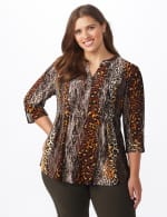 Animal Knit Pintuck Popover - Plus - brown - Front