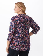 Roz & Ali Small Floral Pintuck Knit Popover - Plus - Navy/Pink - Back