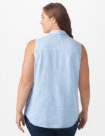 Embroidered Stripe Shirt - Plus - Blue - Back