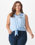 Sleeveless Embroiderered Stripe Shirt - Plus - Blue - Front
