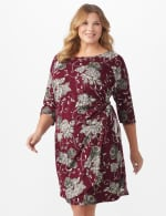 Robin 3/4 Sleeve Floral Wrap Dress - Plus - Wine/taupe - Front