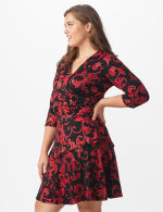 3/4 Sleeve Scroll Tiered Dress - Plus - 3