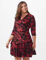 3/4 Sleeve Scroll Tiered Dress - Plus - 5