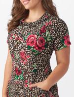 Leopard Rose Dress - Plus - 4