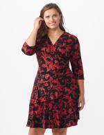 3/4 Sleeve Scroll Tiered Dress - Plus - 6