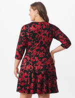 Scroll Tiered Dress - Plus - Black/red - Back