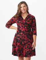 Scroll Tiered Dress - Plus - Black/red - Front