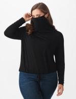 """Modern Mask Top"" Knit Tie Bottom - Plus - Black - Front"