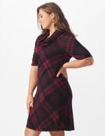 Plaid Cowl Neck Dress - Plus - 4