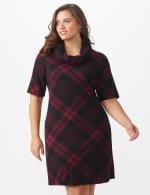 Plaid Cowl Neck Dress - Plus - 6