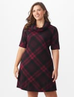 Plaid Cowl Neck Dress - Plus - Black/wine - Front