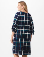 Grid Pattern Sheath Dress - Plus - Navy/Teal/Ivory - Back