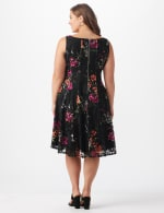 Floral Lace Fit and Flare Dress  - Plus - black/tangerine - Back