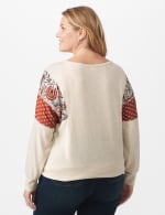 Tie Bottom Mixed Print Knit Top - Plus - Beige - Back