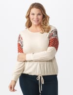 Tie Bottom Mixed Print Knit Top - Plus - Beige - Front