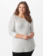 Westport Thermal Stitch Curved Hem Sweater - Plus - Fog Heather - Front