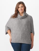 Westport Cable Poncho Sweater - Plus - Felt Grey Heather - Front