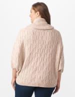 Westport Novelty Yarn Poncho Sweater - Plus - Pale Khaki - Back