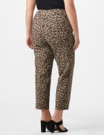 Plus Roz & Ali  Animal Print Superstretch Pull On Ankle Pants With Slits - Black/ Taupe - Back