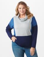 Color Block Cowl Neck Knit Top - Plus - Heather Grey/Blue - Front
