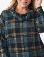 Blue Plaid Cowl Neck Top - Plus - 5
