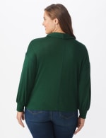 Hacci Sweater Knit Cowl Neck Top - Green - Back