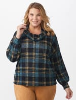 Blue Plaid Cowl Neck Top - Plus - Blue - Front