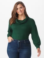 Hacci Sweater Knit Cowl Neck Top - Green - Front