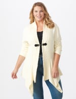 Roz & Ali Cable Front Buckle Cardigan - Plus - Ivory - Front