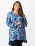 Roz & Ali Paisley Eyelash Tunic Sweater - Plus - Blue Multi - Front