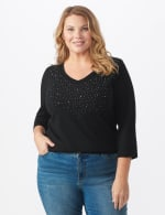 DB Sunday V Neck Stud Knit Top - Plus - Black - Front