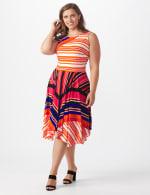 Sleeveless Striped Colorful Dress - Plus - 1