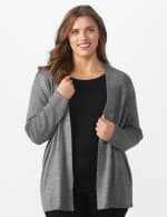 Roz & Ali Everyday Cardigan - Plus - Black/White Marled - Front